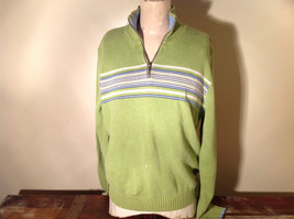 Green with Stripes Hollister Sweater Zip Neck Closure Light Blue Accents Size L image 1