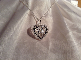 3D Swirl Design Puffy Heart Silver Pendant Necklace Lobster Clasp Closure image 3