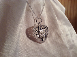 3D Swirl Design Puffy Heart Silver Pendant Necklace Lobster Clasp Closure image 4