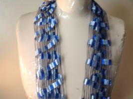 Filigree Scarf Headband Belt Three in One Blue and White image 2