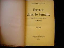French Book Entretiens Dans Le Tumulte 1918-19 Duhamel