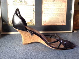 Fioni Black Wedged Heel Shoes Good Condition Ankle Straps Size 10 image 5