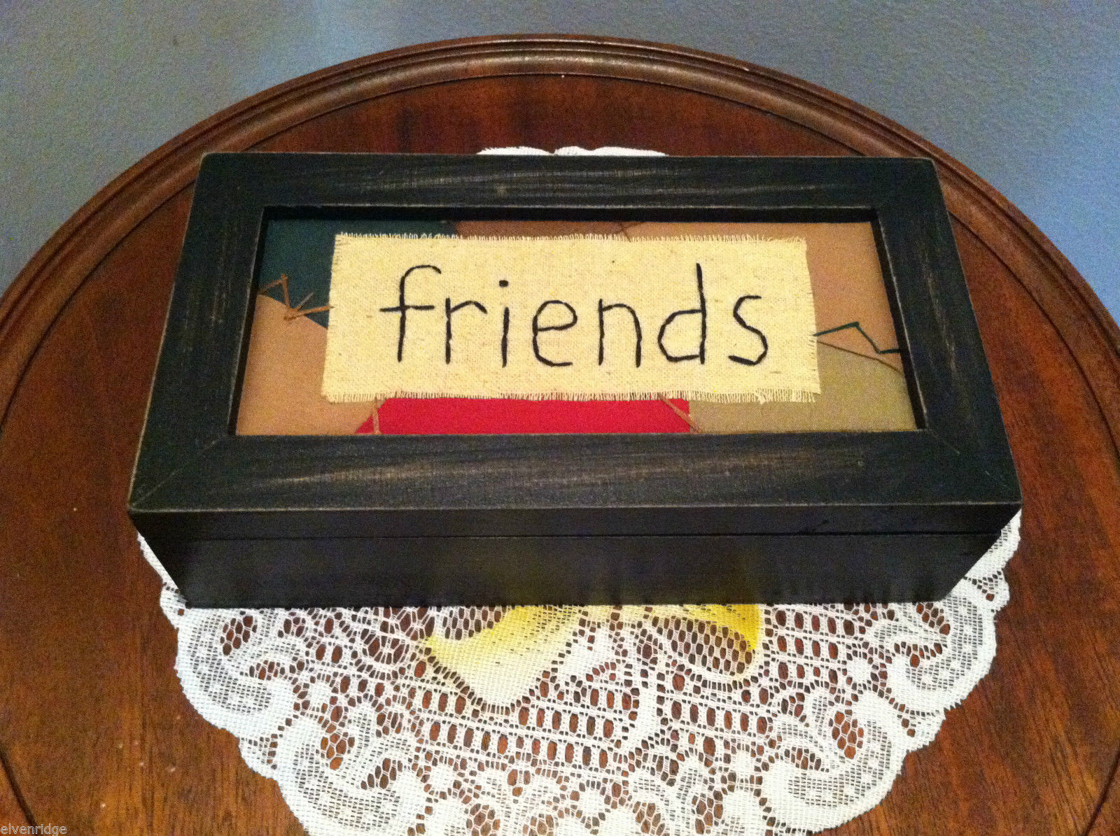 """Friends"" Hand Stitched into Quilted Lid of Black Wooden Box"
