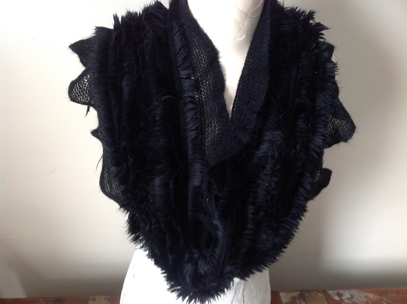 Frilly Furry faux fur Black Infinity Scarf See Measurements Below