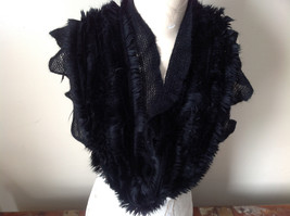 Frilly Furry faux fur Black Infinity Scarf See Measurements Below - £22.85 GBP