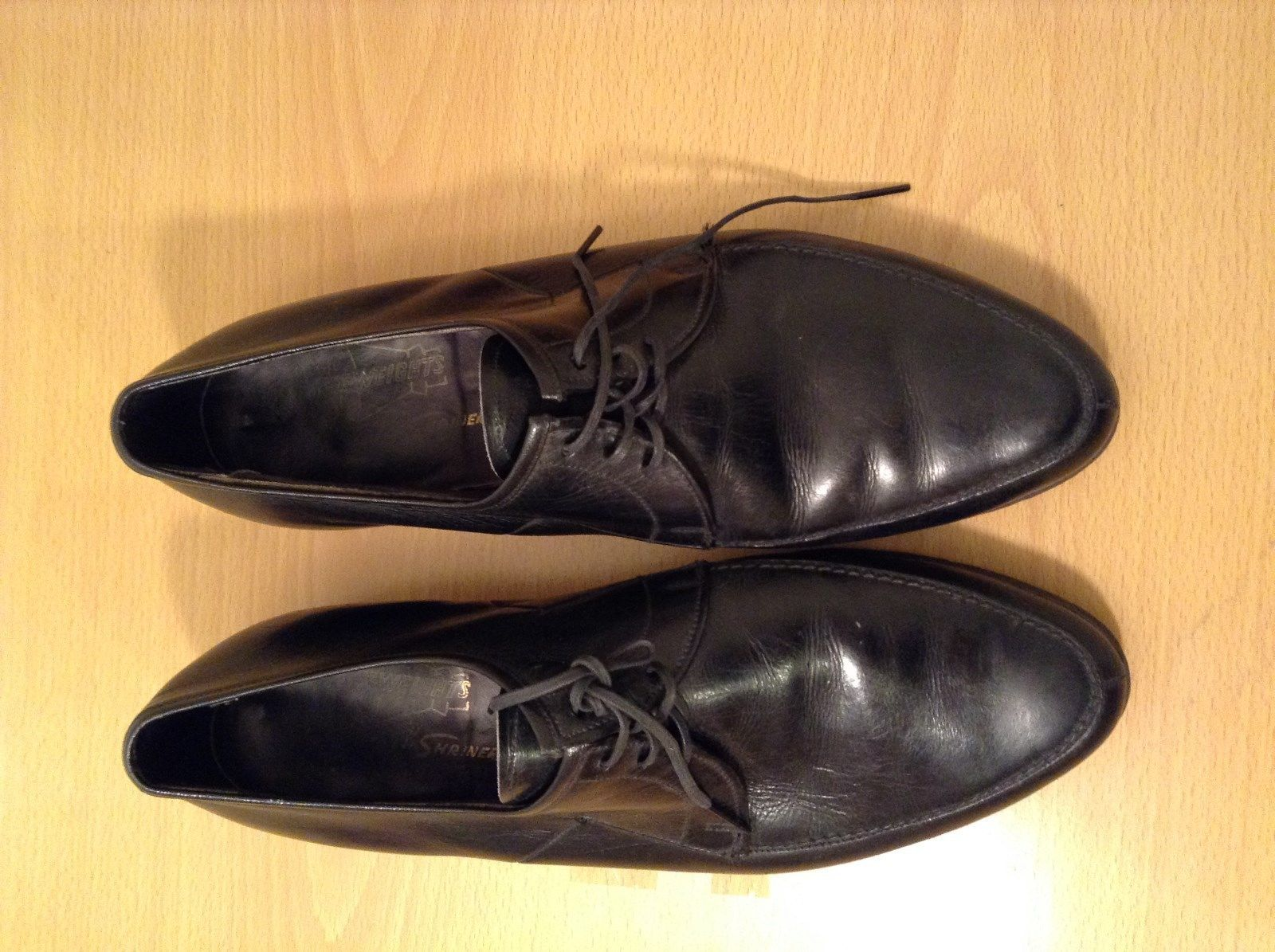French Shriner Black Leather Tied Dress Shoes Size 9