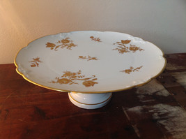 French Ceramic Service Platter Tray Gilded White Raised Flowers Leaves
