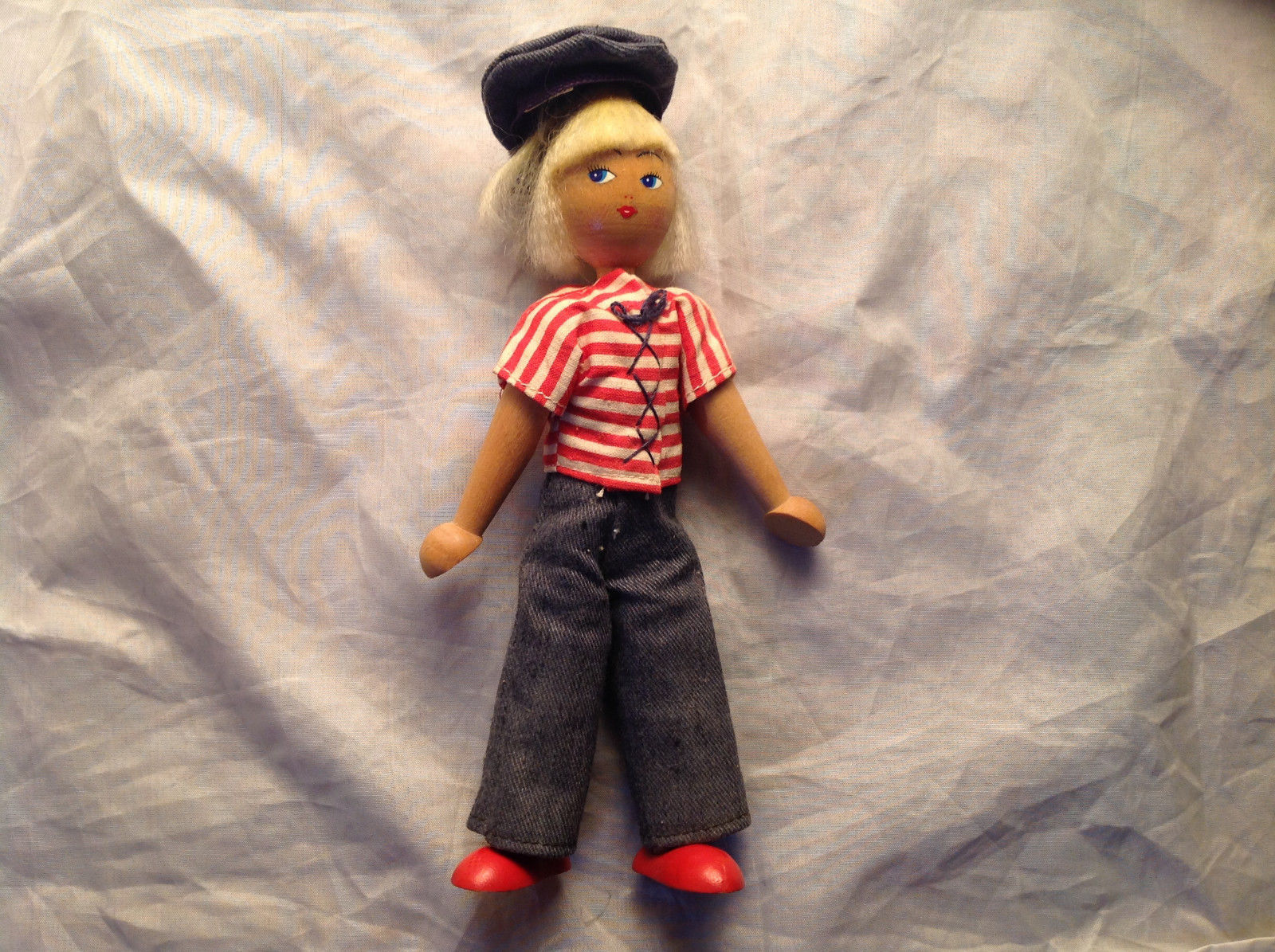 French Wooden Doll with Hat Red Striped Shirt Black Hair Red Shoes Jean Pants