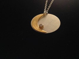 Gold Crescent Flat Moon Necklace w CZ Silver Disk & Chain by Zina Kao California image 7