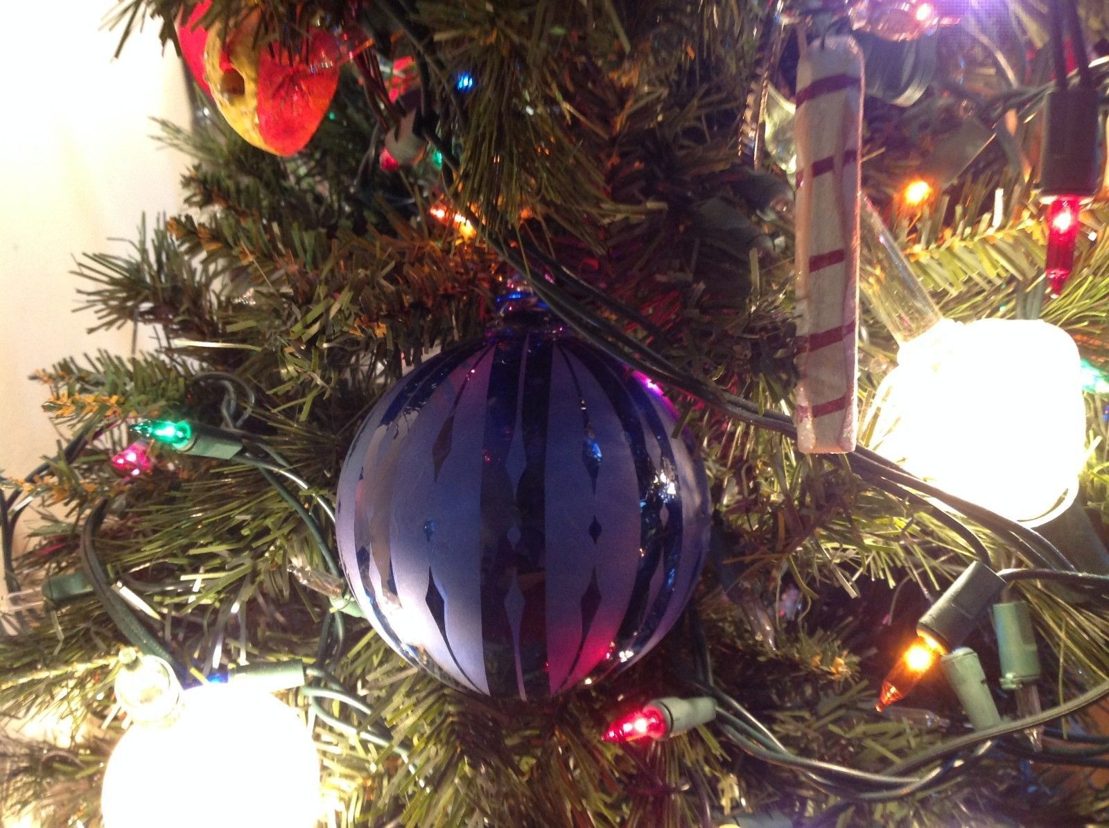 Frosted Hand blown large heirloom glass Christmas ornament Cobalt Blue Vintage