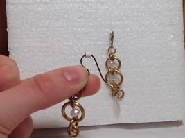 Gold Matted Tone Circle Design Aurora Stone Dangling Earrings Steam Punk Design image 5