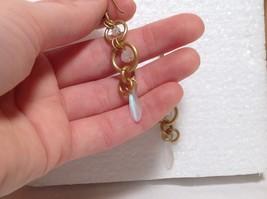 Gold Matted Tone Circle Design Aurora Stone Dangling Earrings Steam Punk Design image 6