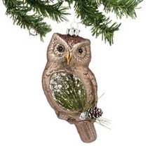 Frosted Owl Ornament  Department 56 Gnome for the Holidays Collection NEW