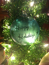 Frosted Hand blown large heirloom glass Christmas ornament in Green Pepper Teal