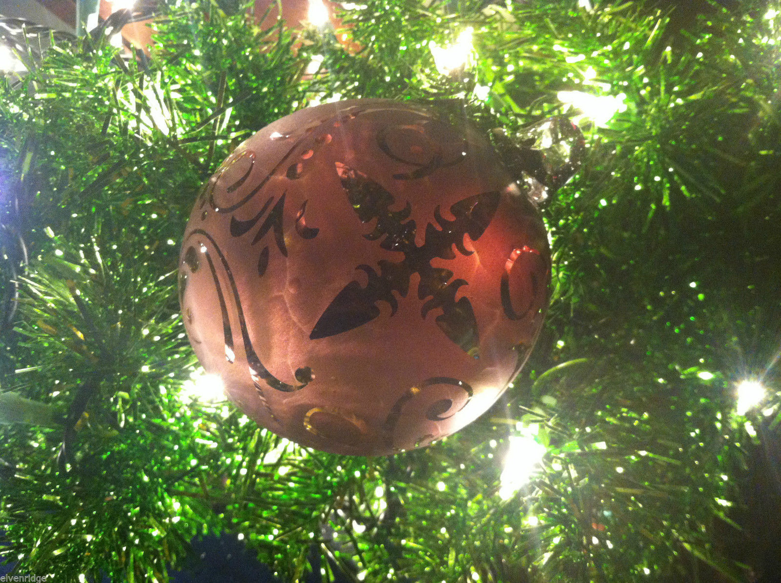Primary image for Frosted Hand blown large heirloom glass Christmas ornament in Vintage Red