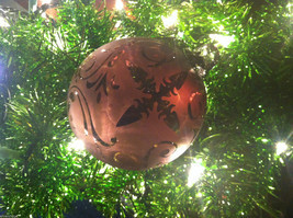 Frosted Hand blown large heirloom glass Christmas ornament in Vintage Red