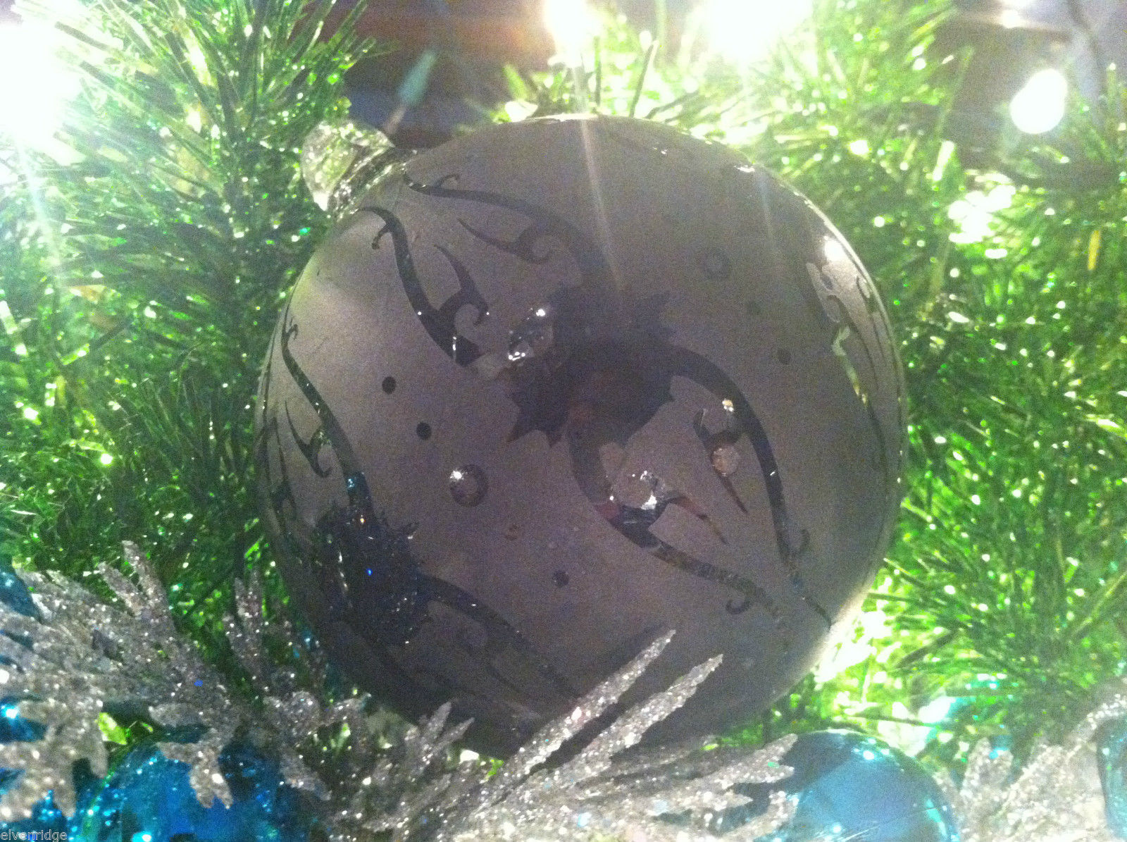 Frosted Hand blown large heirloom glass Christmas ornament in Matted Coal