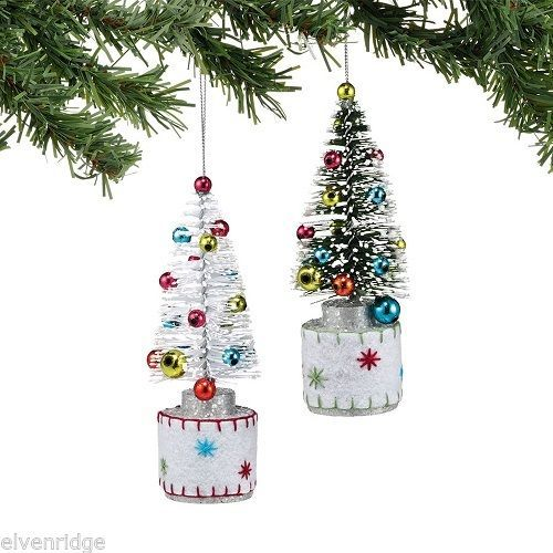 Frosted Tree Ornament in White or Green choice  Vintage look NEW