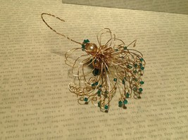 Gold Wire Angel Ornament with Light Blue Crystals and Faux Peal Real Gold image 4