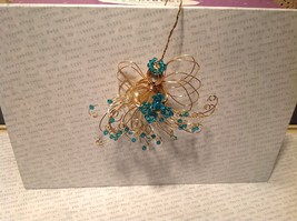 Gold Wire Angel Ornament with Light Blue Crystals and Faux Peal Real Gold image 3