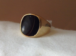 Gold Tone Square Black Stone Ring Size 8 and 10 Sold Separately image 7