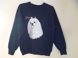 Fruit of the Loom Black Sweatshirt with Maltese Graphic Size Medium