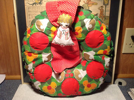 Fruity Holiday Quilted Wreath with Doll and Ribbon Apples Bells Flowers