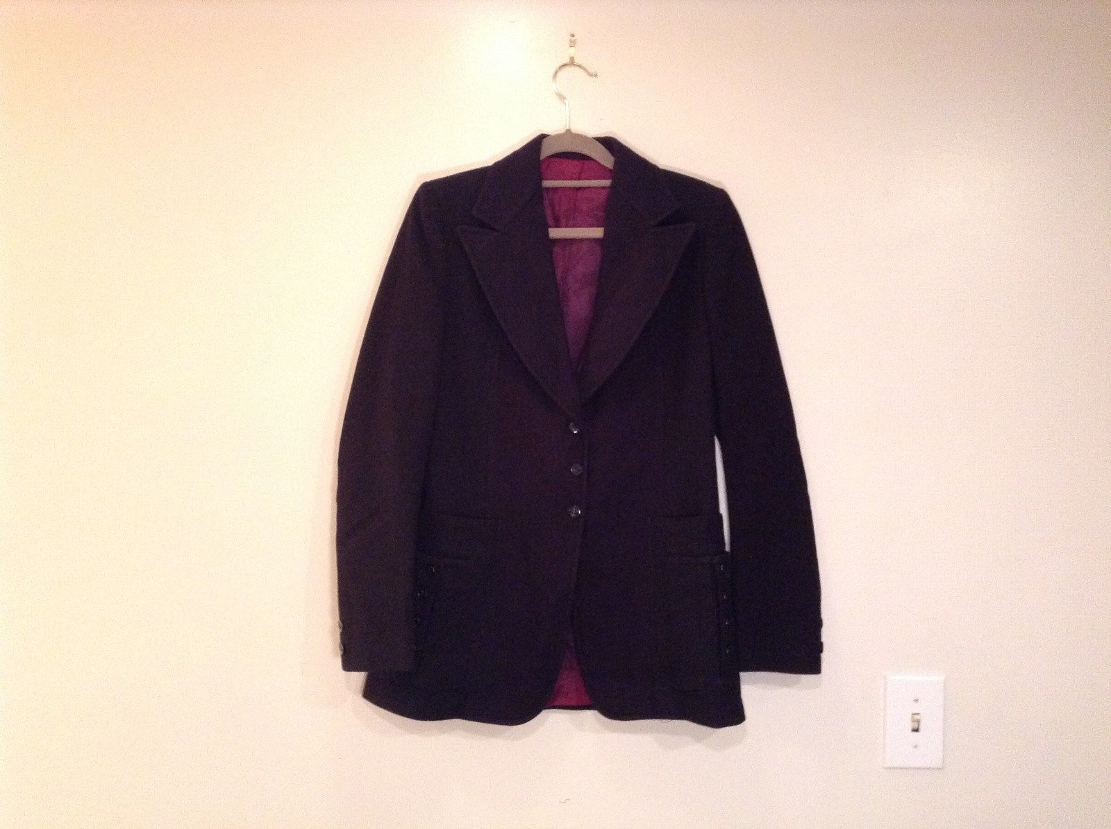 Fully Lined Black Blazer No Tags Pockets 3 Button Closure Measurements Below