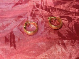 "Gold color vintage clip on gold hoop earrings 1.5"" image 2"