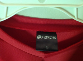 First Star Size Small Red Long Sleeve V Neck Athletic Shirt image 3