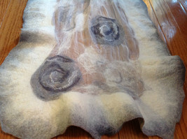 Hand Felted Gray and White Gossamer Silk Boutique Chic Long Rectangle Scarf