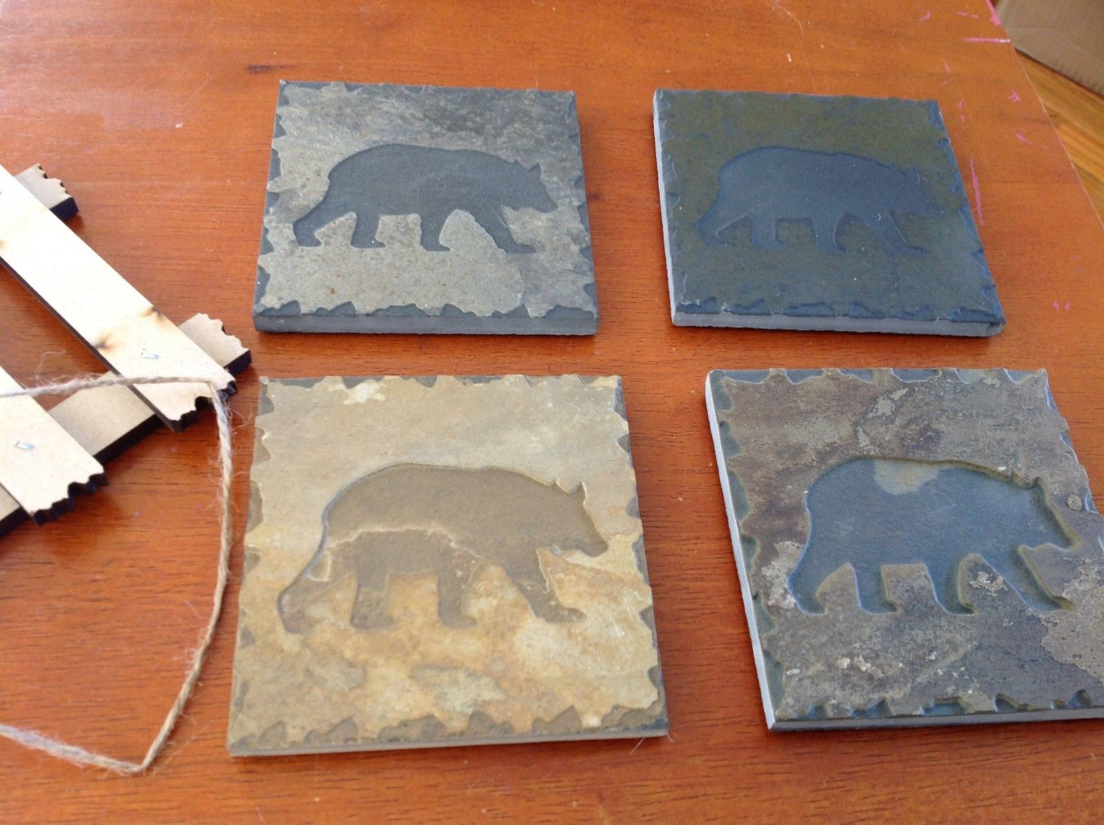 "Hand Made USA tile coasters 4"" square engraved slate gift set  bear"