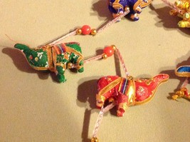 Five Baby Festival Elephants  Strand w Beads and Bell String Connector image 3