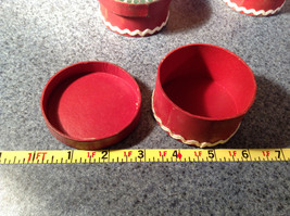 Five Piece Set Small Round Red Christmas Trinket Boxes image 6