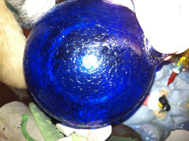 Hand blown large heirloom glass Christmas ornament in cobalt blue crackle finish
