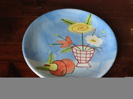 Hand Painted Decorative Ceramic Plate Saucer Flowers and Fruit