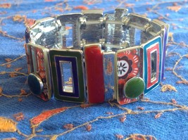 Funky colorful modern enamel resin silver tone tablet bracelet  NEW  oranges