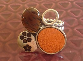 Funky Silver tone bubble art floral flexible ring orange leather metal 1 sz image 1