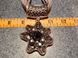 Flower Scarf Pendant with Small Black Rose in Center Silver Beads and Crystals image 2