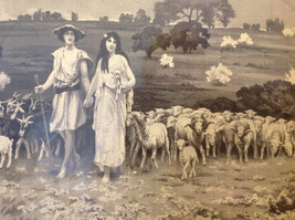 Gorgeous antique preserved alpine image mountains goats framed tapestry image 7