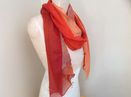 Gorgeous Red Orange Hue Shimmery Material Fashion Scarf image 2