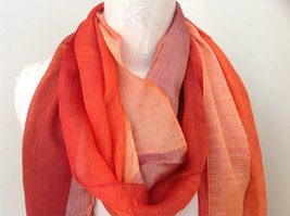 Gorgeous Red Orange Hue Shimmery Material Fashion Scarf image 4
