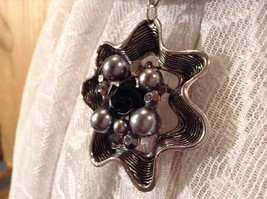 Flower Scarf Pendant with Small Black Rose in Center Silver Beads and Crystals image 5