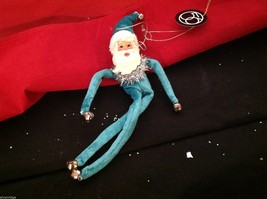 Fuzzy soft ornament jolly Santa department 56 posable vintage repro in blue suit
