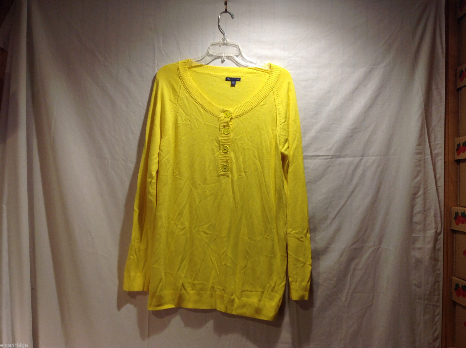 GAP Bright Yellow Wide Scoop Neck 100% cotton Light Pullover Sweater, Size XL