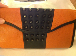 Gorgeous Ladies bright orange Studded Tyson clutch bag with carry strap image 3