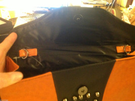 Gorgeous Ladies bright orange Studded Tyson clutch bag with carry strap image 4