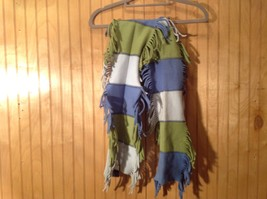 GAP Kids Scarf Blue White Green Stripes Edges Frilled 100 Percent Polyester