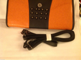 Gorgeous Ladies bright orange Studded Tyson clutch bag with carry strap image 2