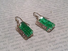 Green with Clear Glossy Finish Pewter and Enamel Handcrafted Earrings